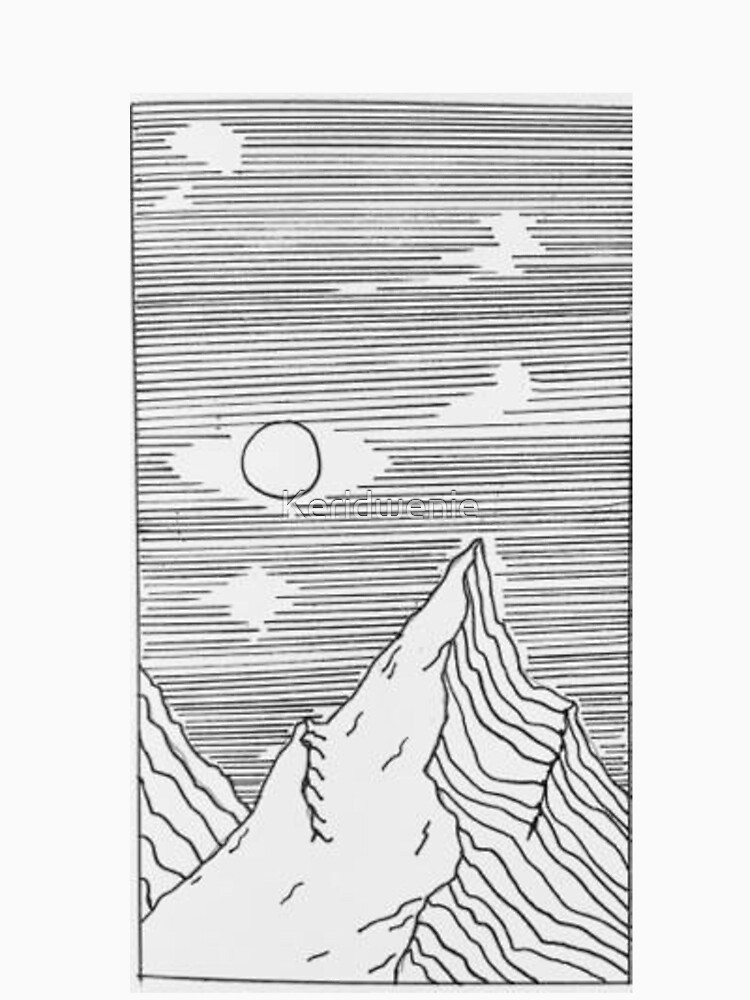 mountains drawing black and white by Keridwenie
