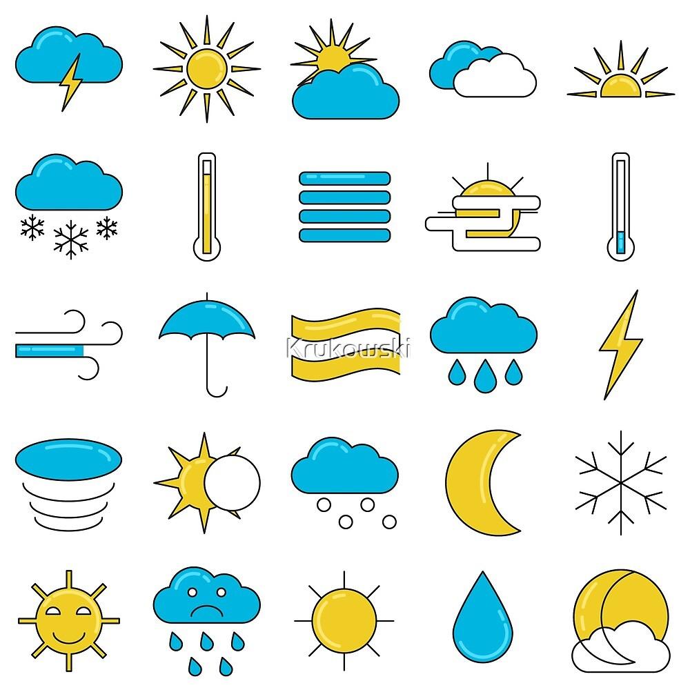 Weather Symbols Icons Set by Krukowski