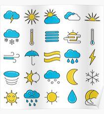 Weather Symbols Icons Set Poster