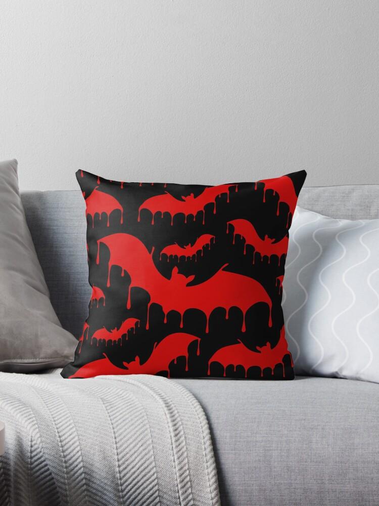 Red Bleeding Bats on Black Nu Goth Gothic Alternative pattern by Moose Disco by MooseDisco