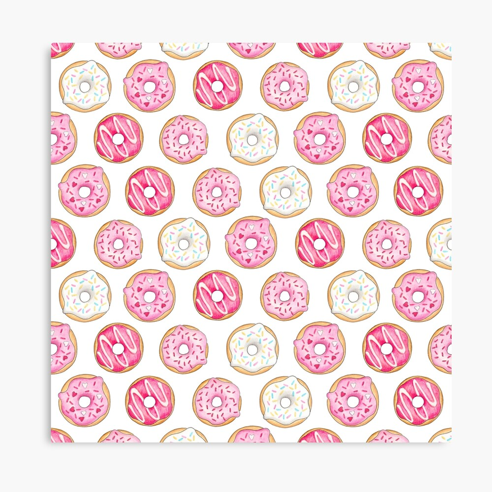 Pink Iced Donuts Pattern Canvas Print