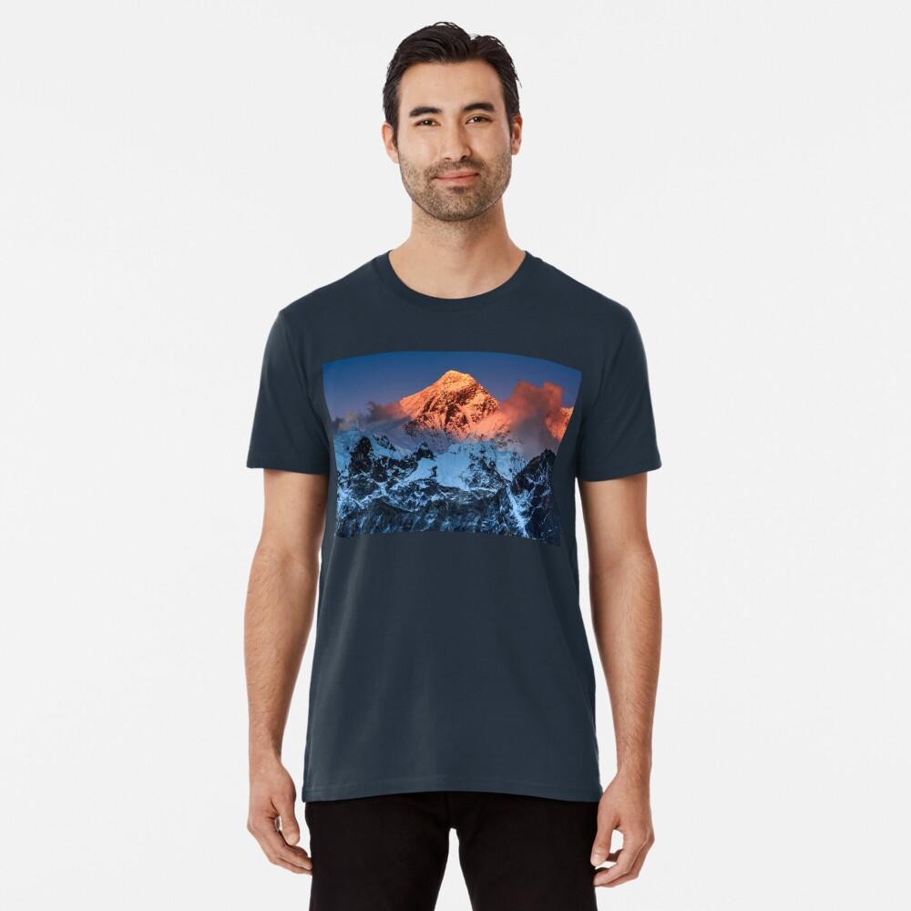 Sunlit Mount Everest Hiking Climbing Mountains Men's Premium T-Shirt Front