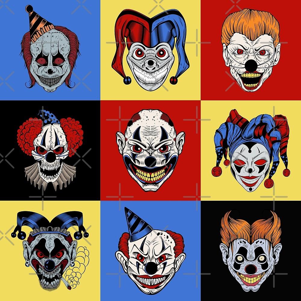 Colors evil clowns by Vesaints