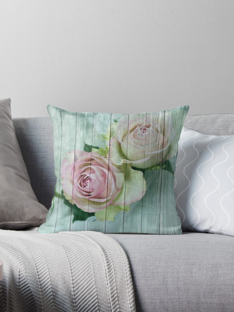 Vintage Shabby Chic Pretty Pastel Pink Roses On Blue Wood by ThatsMyStyle