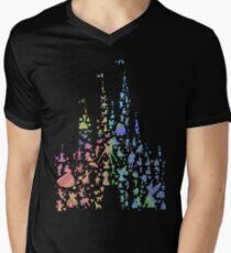 Das glücklichste Schloss der Welt (Regenbogenexplosion) T-Shirt mit V-Ausschnitt für Männer