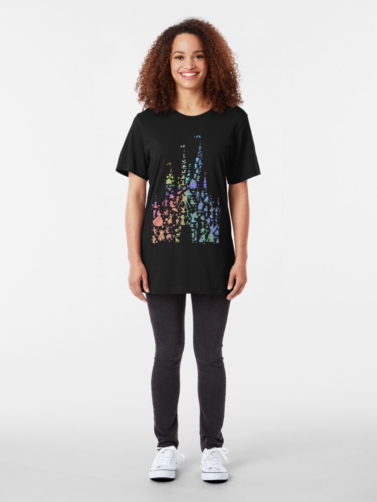Alternate view of Happiest Castle On Earth (Rainbow Explosion) Slim Fit T-Shirt