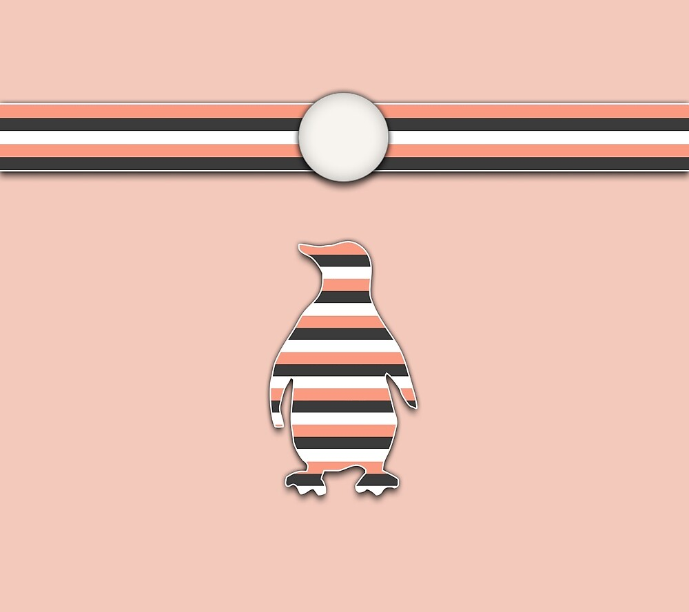 Coral Penguin Stripes Animal Design Pattern by SkylineSquirrel