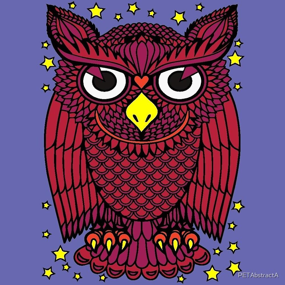 Burgundy Owl  by PETAbstractA