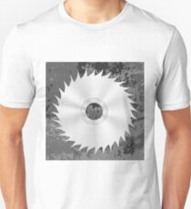 Silver Metal Saw Isolated on Grey Grunge Background. Circular Saw Disc Icon T-Shirt