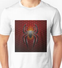 Spider Icon on Red Metal Perforated Background T-Shirt