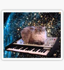 Cat on a Keyboard in Space Sticker