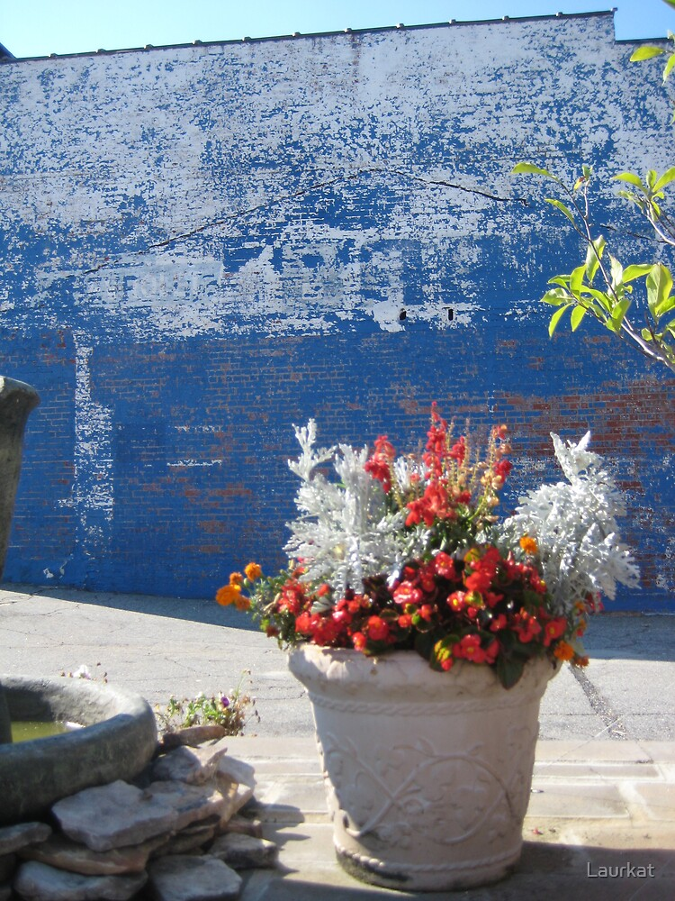 blue brick wall in summer by Laurkat