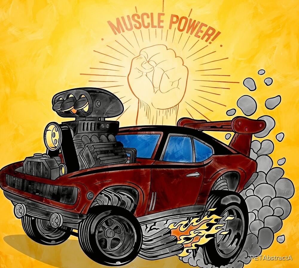 Muscle Power Car Cartoon Art Print  by PETAbstractA
