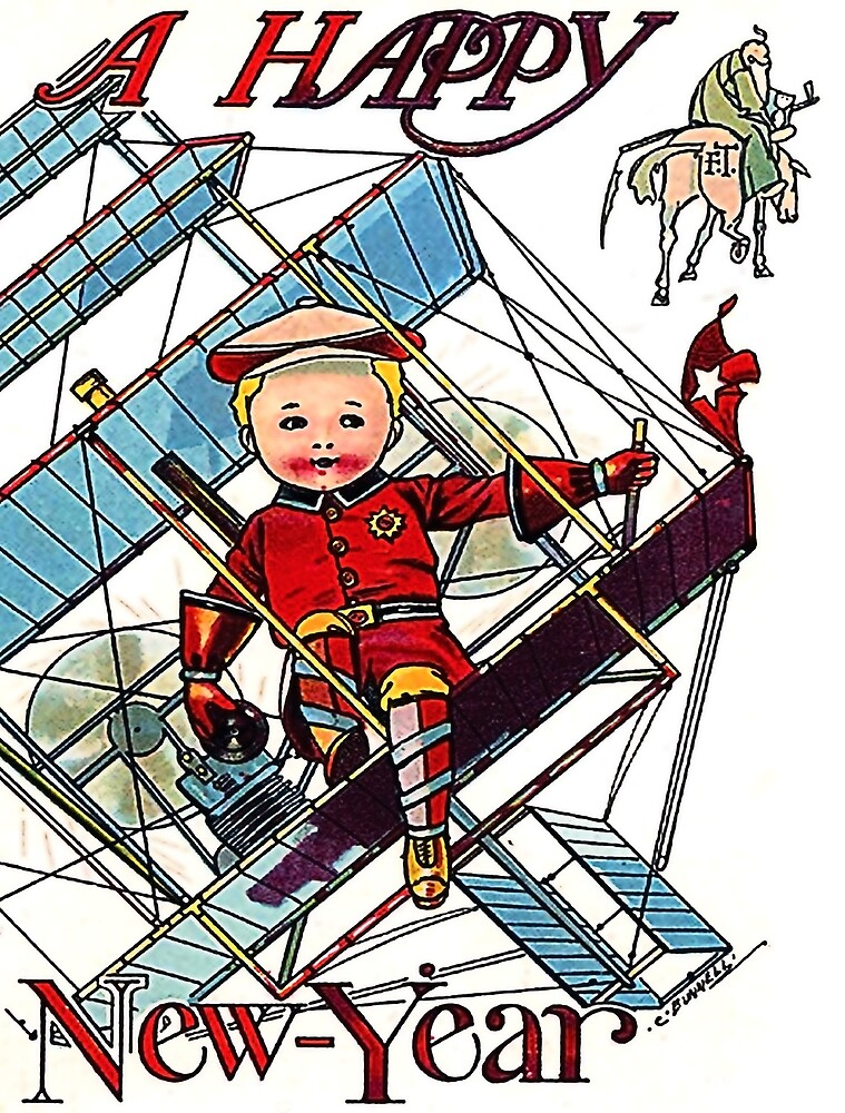 Happy New Year from a little pilot, vintage holiday card by AmorOmniaVincit