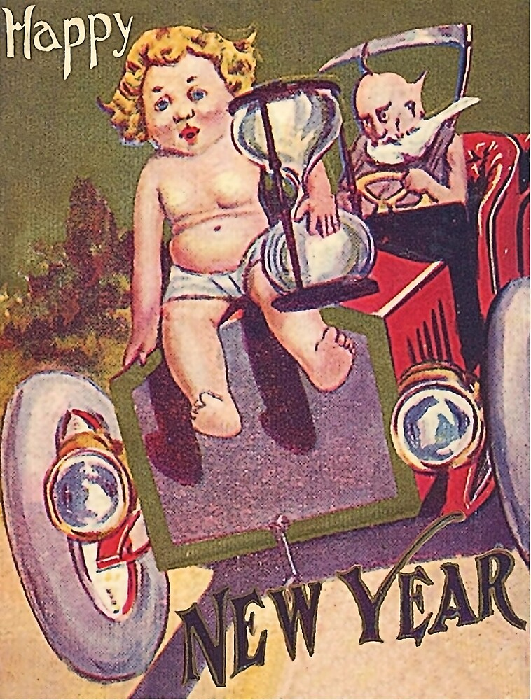Happy New year vintage greeting card by AmorOmniaVincit