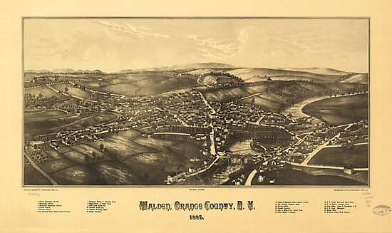 Aerial View of Walden, Orange County, New York (1887) by allhistory