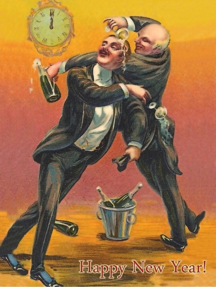 Two drinking men, vintage celebration holiday card by AmorOmniaVincit