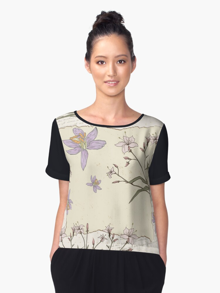 Watercolor Lily Pad Women's Chiffon Top Front