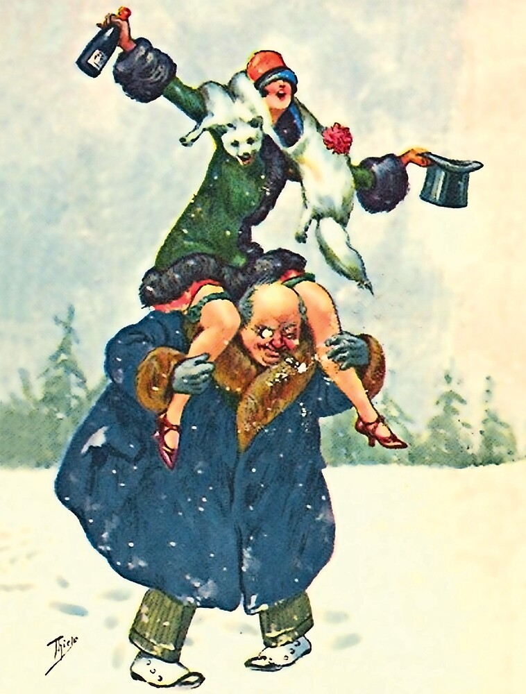 Celebration couple, funny vintage holiday postcard by AmorOmniaVincit