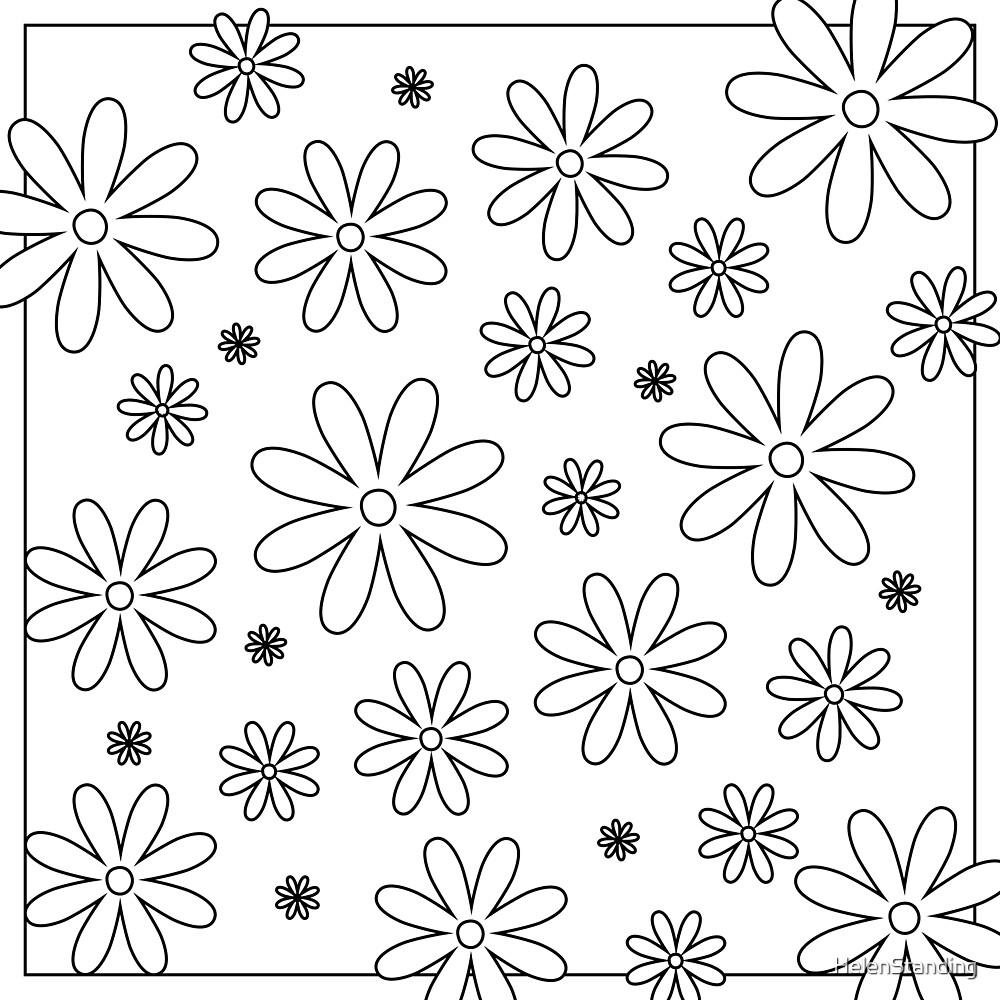 Framed Flowers - Black (A1) by HelenStanding