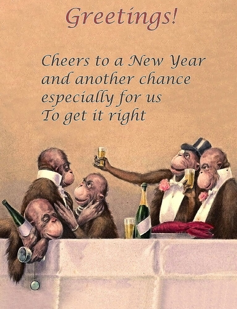 Monkeys having a New Year party with lots of champagne by AmorOmniaVincit