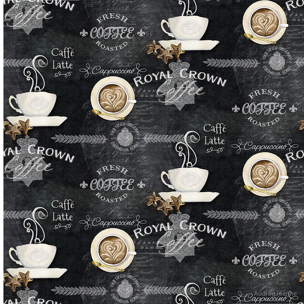Coffee Chalkboard Logo Typography Desserts Fabric by AudreyJeanne
