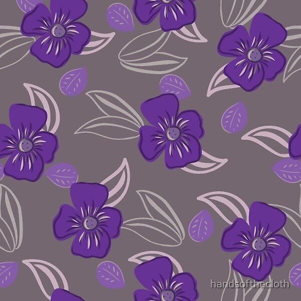 leaves and flowers purple colorway  by handsofthecloth