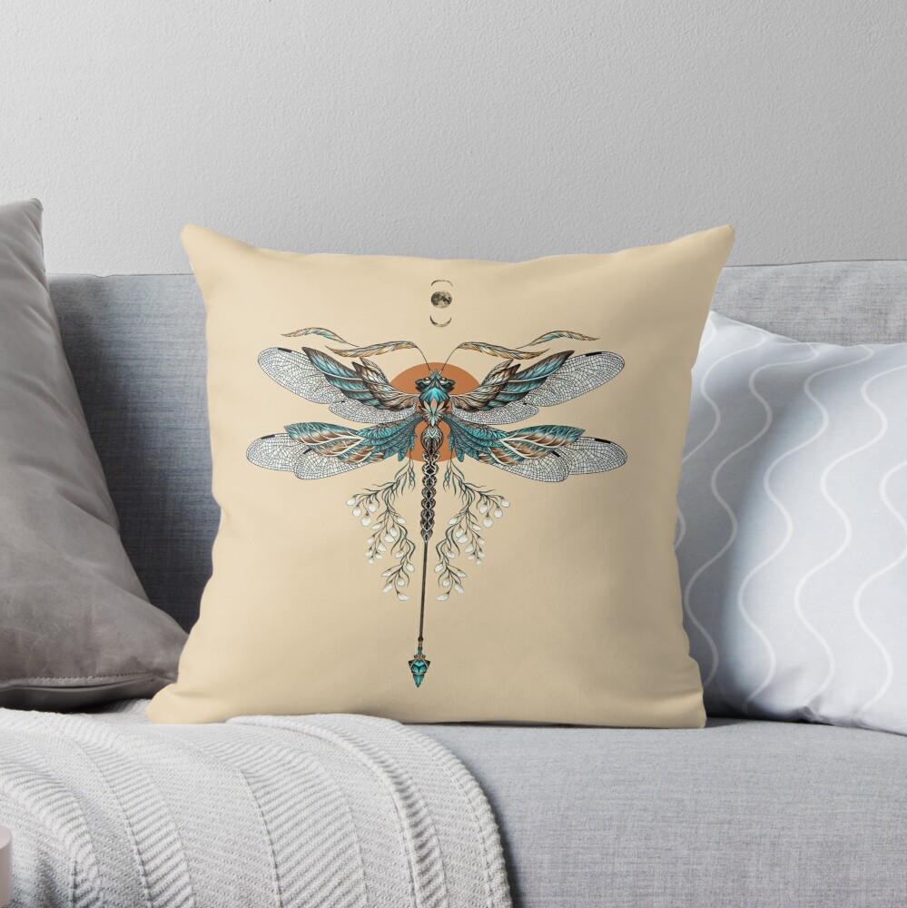 Dragon Fly Tattoo Throw Pillow