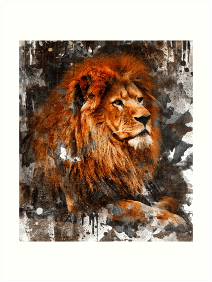 Lion Watercolor Painting by Nora Gad