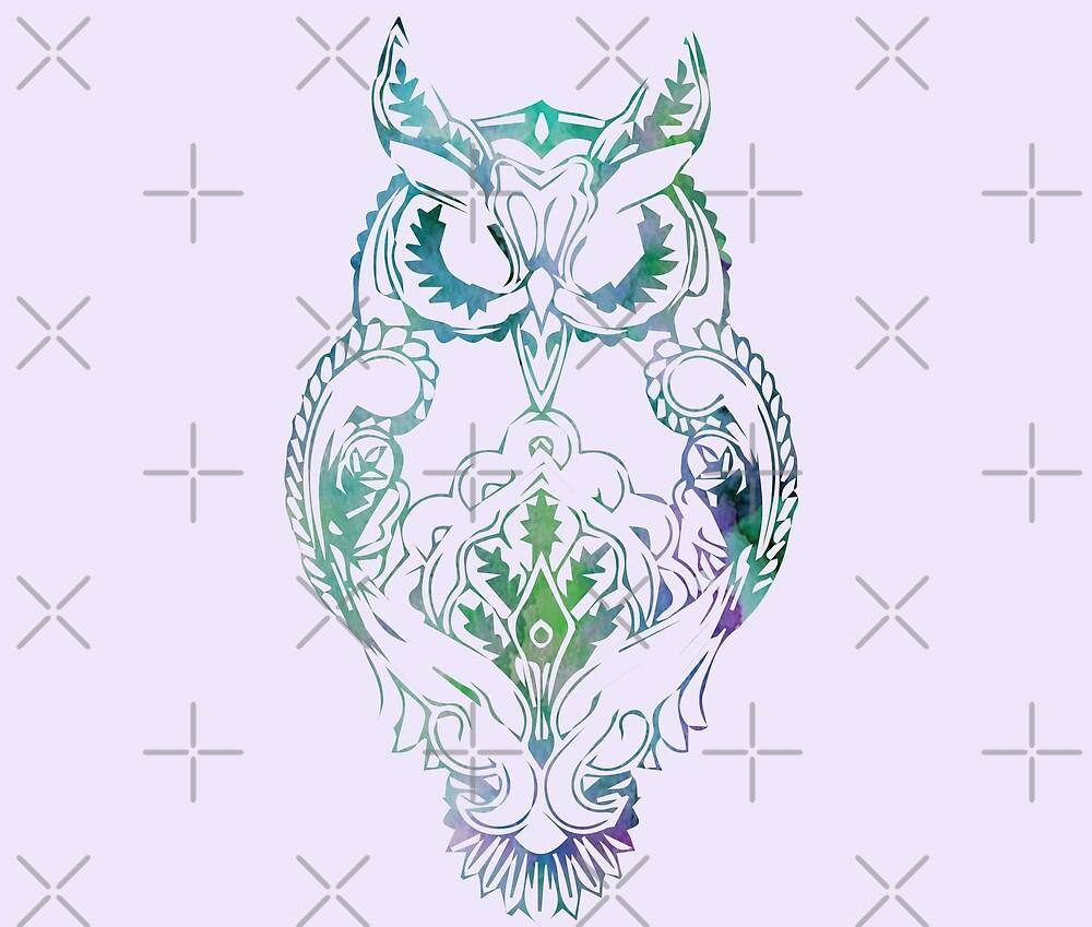 Boho Watercolor Owl // Weekend Originals Collection by RusticPinesCo