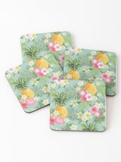 Hawaiian Pineapple and Tropical Flowers Coasters