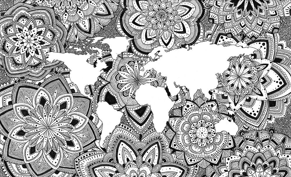 World Map - Zentangle  by Liese001