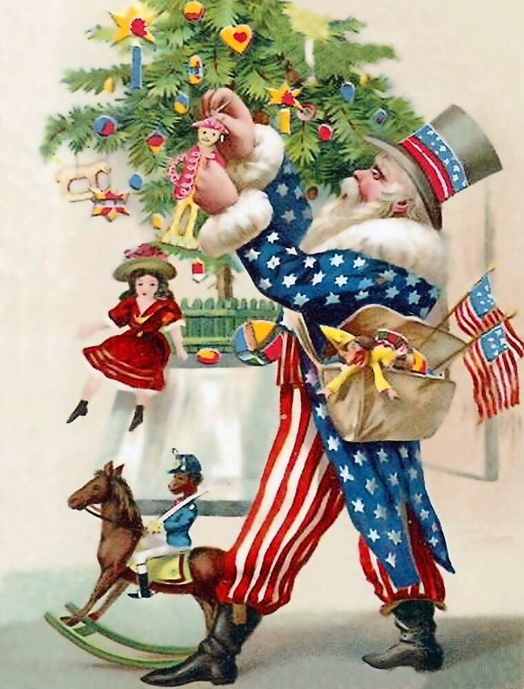 Uncle Sam is decorating Christmas tree, patriotic vintage card by AmorOmniaVincit