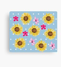 Sunflower cherry blossom pattern Canvas Print