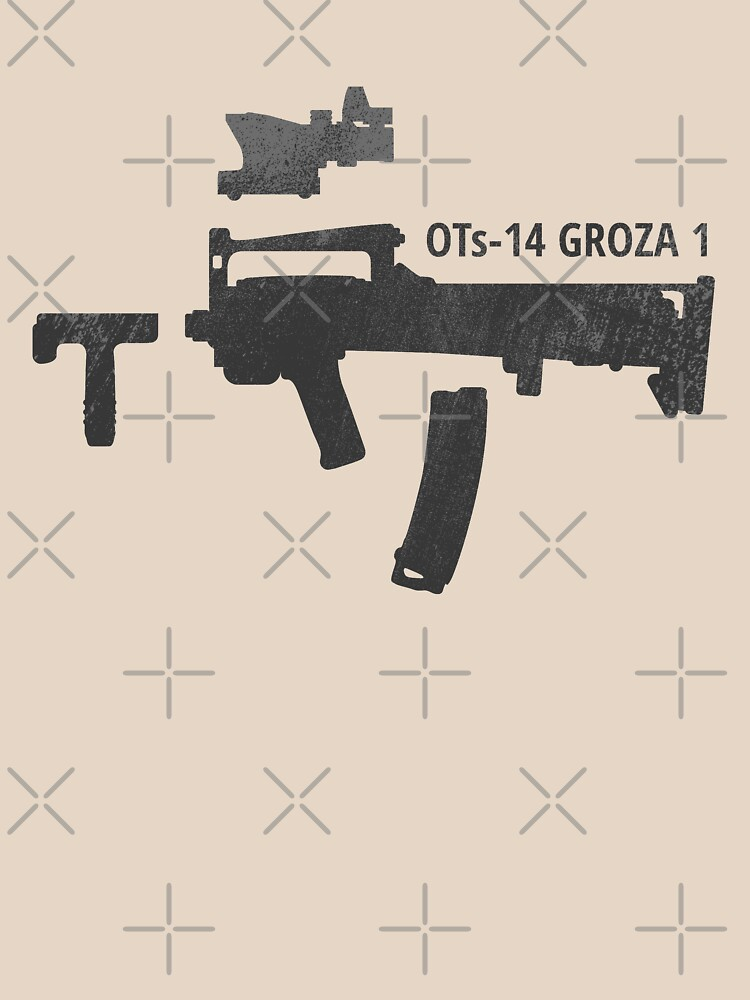 OTs-14 Bullpup Rifle Groza (ОЦ-14 Гроза) black silhouette with accessories by Moolversin