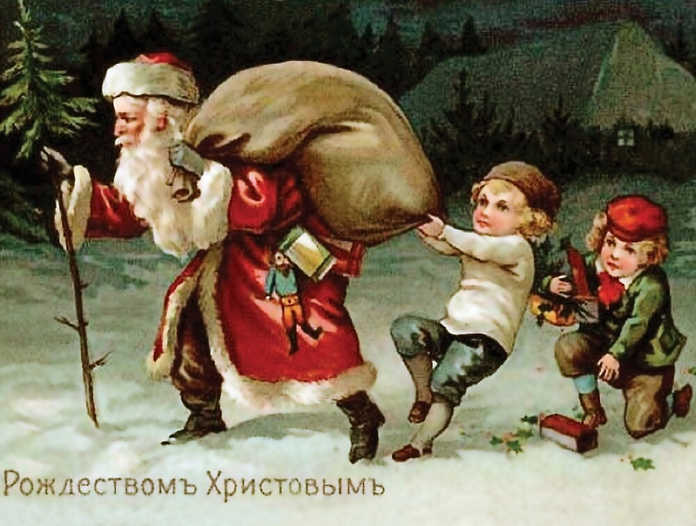Kids are trying to stop Santa Claus, vintage greeting card by AmorOmniaVincit