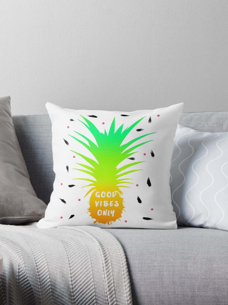 "Fresh and colorful ""good vibes only"" pineapple design  by NaughtyCat"