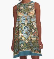 William Morris Pattern Vögel und Blumen A-Linien Kleid
