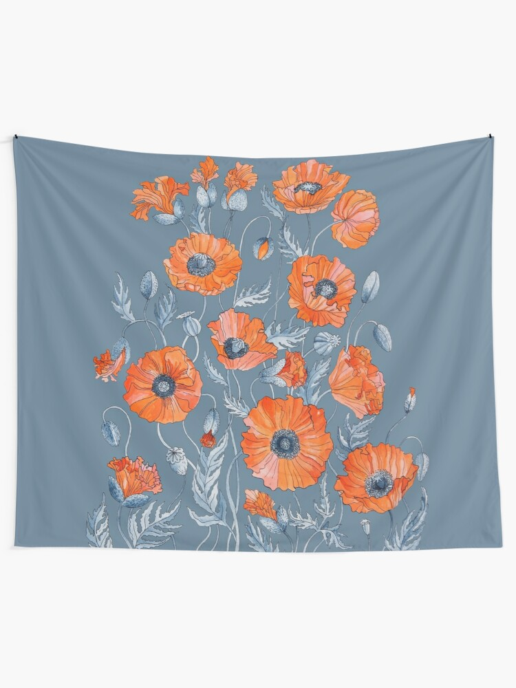 Alternate view of Poppies Floral Botanical art Wall Tapestry