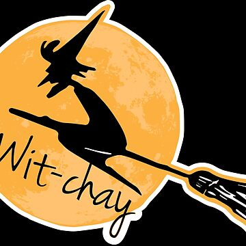 Wit-Chay Halloween Witch Broom Moon by creationseven