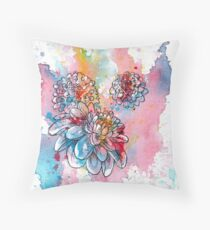 Colorful abstract flowers 1 - dahlia flower Throw Pillow