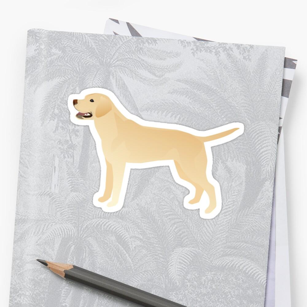 White Yellow Lab Basic Breed Silhouette Illustration Pegatina