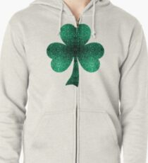 Beautiful Emerald Green glitter sparkles Zipped Hoodie