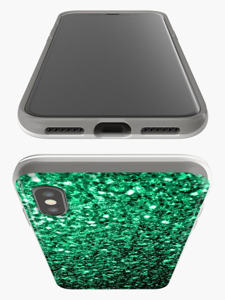 Vista alternativa de Funda y vinilo para iPhone Hermosos destellos de color verde esmeralda.