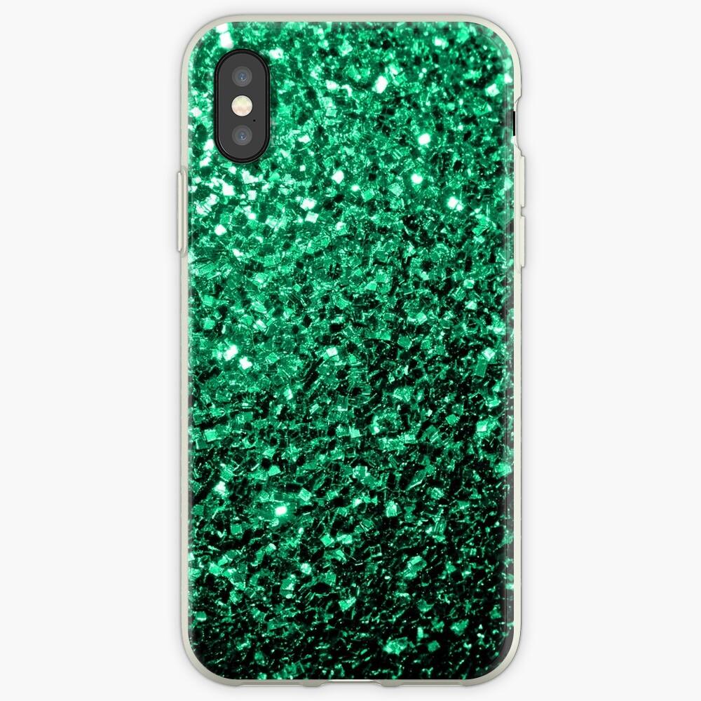 Hermosos destellos de color verde esmeralda. Funda y vinilo para iPhone