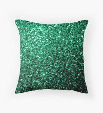 Beautiful Emerald Green glitter sparkles Throw Pillow