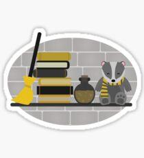 House Shelf - Badger (grey background) Sticker