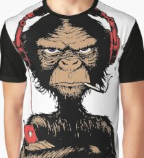 Smoking Monkey - Walkman Graphic T-Shirt