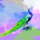 Peacock Dream - peacock painting, animal illustration, colorful by floartstudio