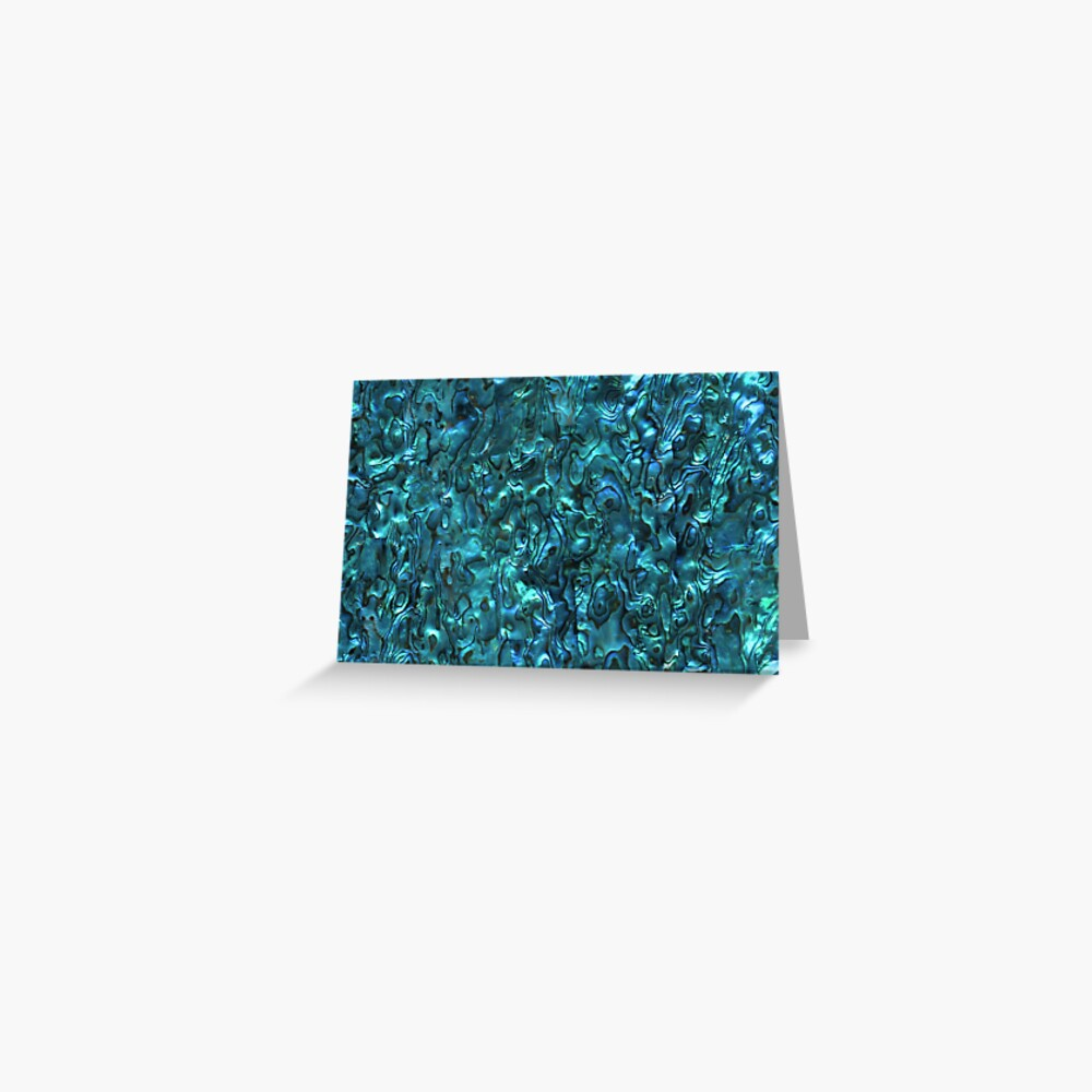 Abalone Shell   Paua Shell   Seashell Patterns   Sea Shells   Cyan Blue Tint    Greeting Card